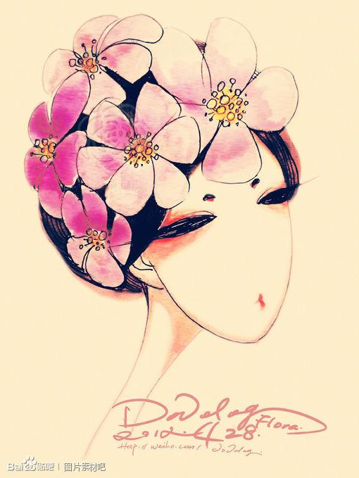 手绘图,喜欢给花.