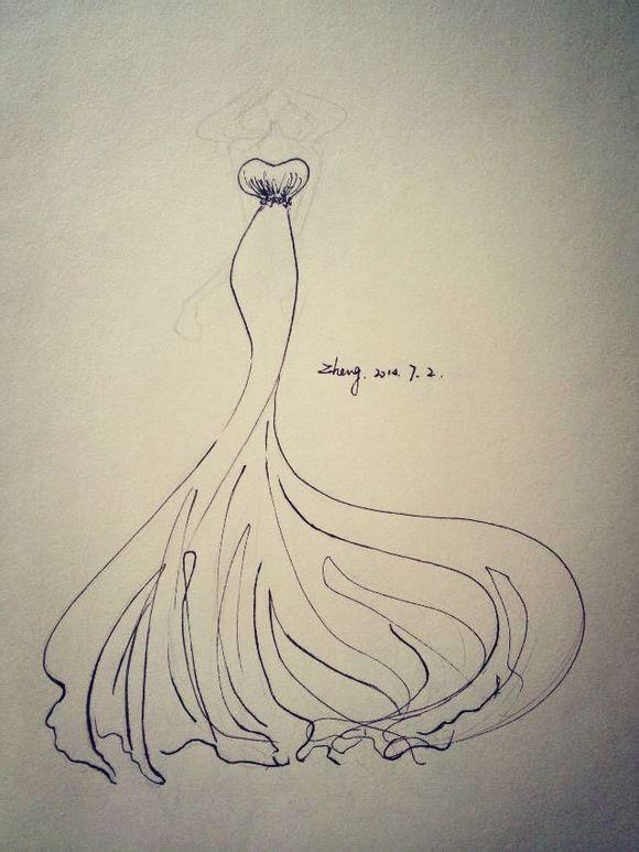 钢笔手绘婚纱