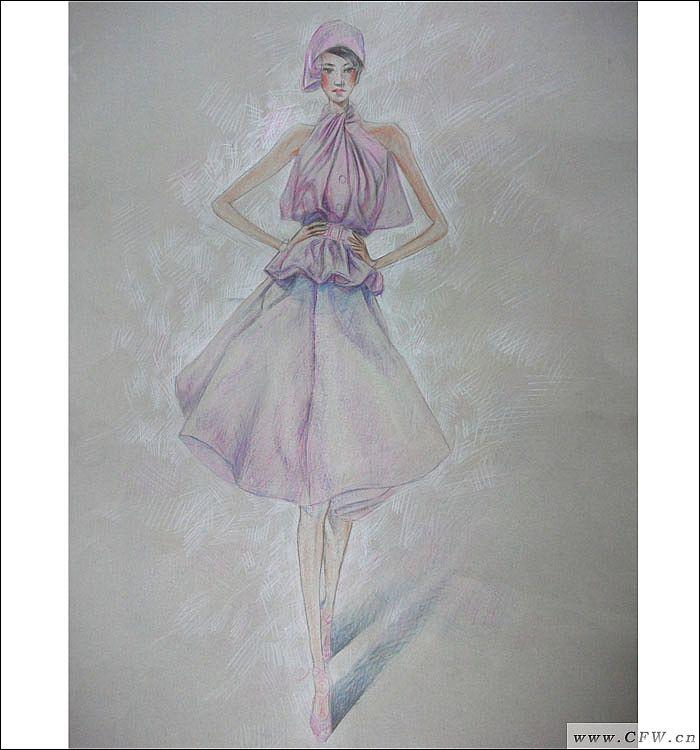 彩铅手绘礼服设计图