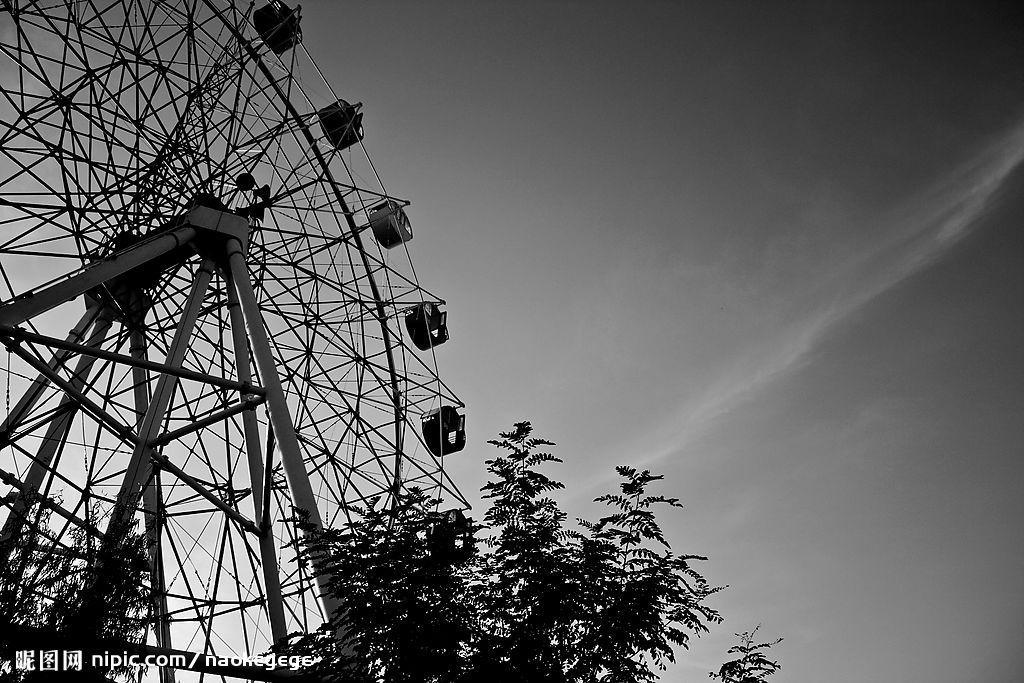 摩天轮黑白简笔画图片